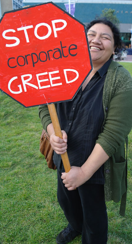 A campaigner against the 99% looks pleased.