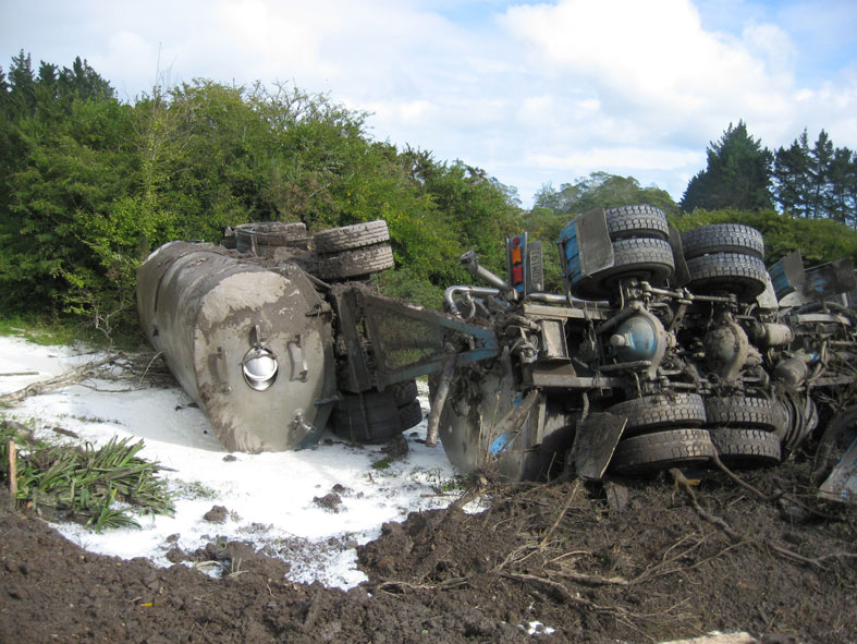 No point crying over spilt milk. A Fonterra lorry goes off road - no one was hurt.