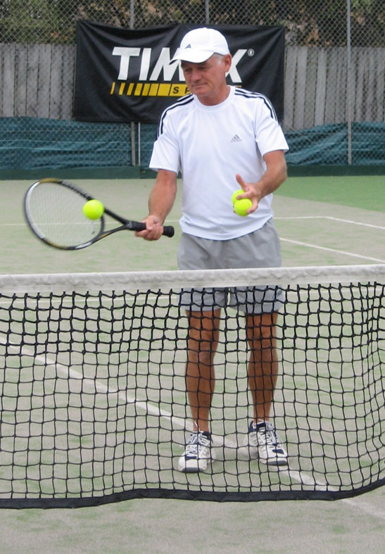 Anyone for tennis? A pro coach shows how it is done.