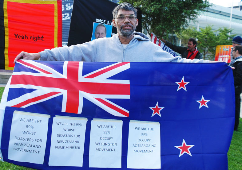 An 'occupy' protester at Auckland.